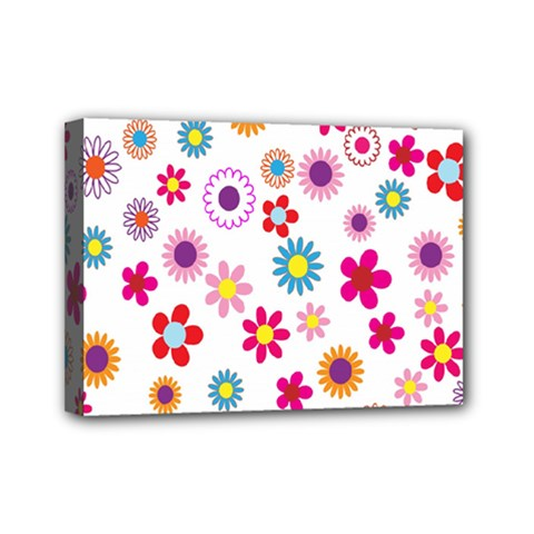 Colorful Floral Flowers Pattern Mini Canvas 7  X 5  by Simbadda