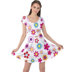 Colorful Floral Flowers Pattern Cap Sleeve Dresses by Simbadda