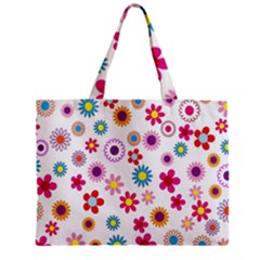 Colorful Floral Flowers Pattern Zipper Mini Tote Bag
