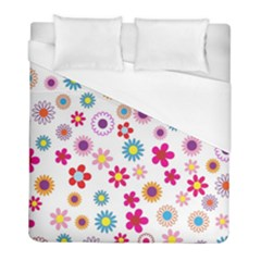 Colorful Floral Flowers Pattern Duvet Cover (full/ Double Size) by Simbadda
