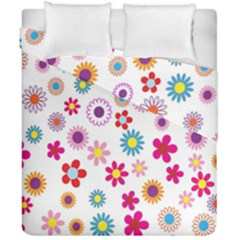 Colorful Floral Flowers Pattern Duvet Cover Double Side (california King Size) by Simbadda