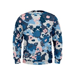 Fabric Wildflower Bluebird Kids  Sweatshirt