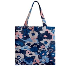 Fabric Wildflower Bluebird Zipper Grocery Tote Bag by Simbadda