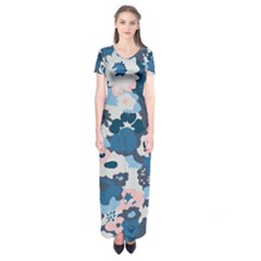 Fabric Wildflower Bluebird Short Sleeve Maxi Dress by Simbadda