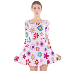Colorful Floral Flowers Pattern Long Sleeve Velvet Skater Dress