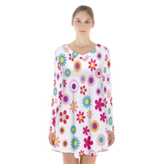 Colorful Floral Flowers Pattern Long Sleeve Velvet V Neck Dress by Simbadda