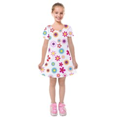 Colorful Floral Flowers Pattern Kids  Short Sleeve Velvet Dress