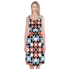 Morrocan Fez Pattern Arabic Geometrical Midi Sleeveless Dress by Simbadda