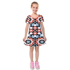 Morrocan Fez Pattern Arabic Geometrical Kids  Short Sleeve Velvet Dress
