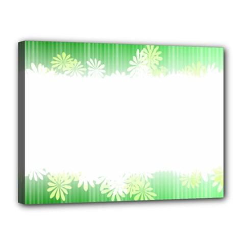 Green Floral Stripe Background Canvas 16  X 12  by Simbadda