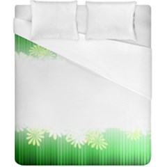 Green Floral Stripe Background Duvet Cover (california King Size)