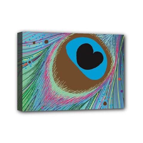 Peacock Feather Lines Background Mini Canvas 7  X 5
