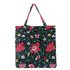 Vintage Floral Wallpaper Background Grocery Tote Bag by Simbadda
