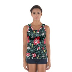 Vintage Floral Wallpaper Background Women s Sport Tank Top