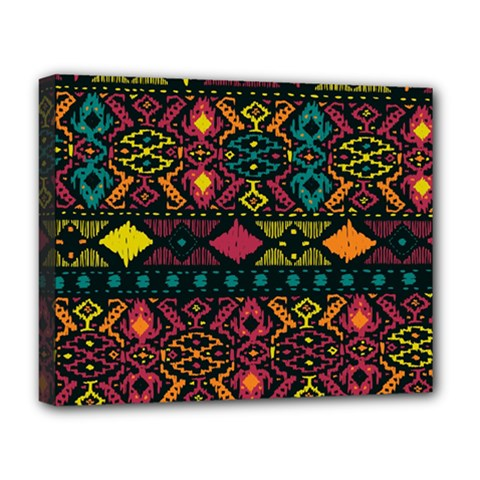 Traditional Art Ethnic Pattern Deluxe Canvas 20  X 16   by Simbadda