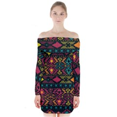 Traditional Art Ethnic Pattern Long Sleeve Off Shoulder Dress by Simbadda