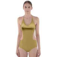 Brown Paper Packages Cut Out One Piece Swimsuit