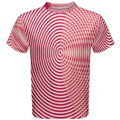 Circle Line Red Pink White Wave Men s Cotton Tee