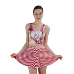 Circle Line Red Pink White Wave Mini Skirt