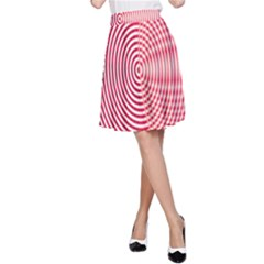 Circle Line Red Pink White Wave A Line Skirt