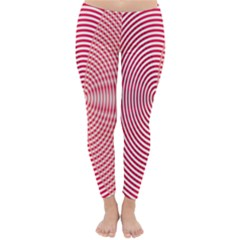Circle Line Red Pink White Wave Classic Winter Leggings