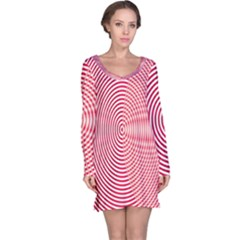 Circle Line Red Pink White Wave Long Sleeve Nightdress