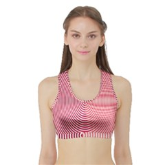 Circle Line Red Pink White Wave Sports Bra With Border