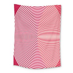Circle Line Red Pink White Wave Medium Tapestry
