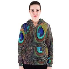 Peacock Feathers Women s Zipper Hoodie