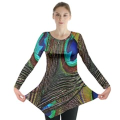 Peacock Feathers Long Sleeve Tunic