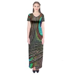 Peacock Feathers Short Sleeve Maxi Dress