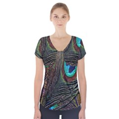 Peacock Feathers Short Sleeve Front Detail Top