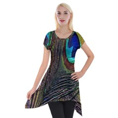 Peacock Feathers Short Sleeve Side Drop Tunic