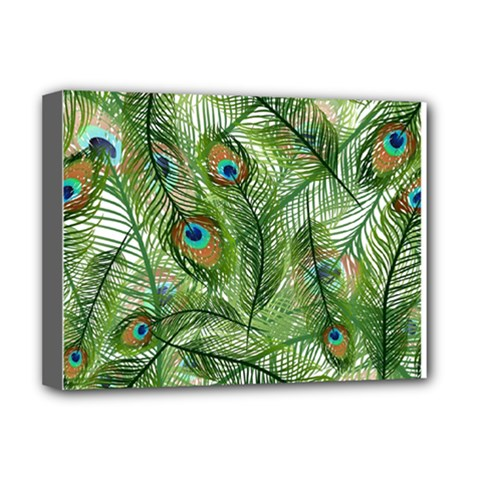 Peacock Feathers Pattern Deluxe Canvas 16  X 12   by Simbadda