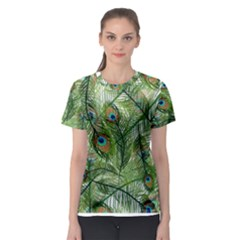 Peacock Feathers Pattern Women s Sport Mesh Tee