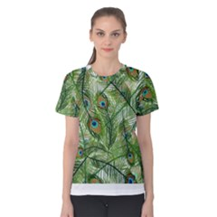 Peacock Feathers Pattern Women s Cotton Tee