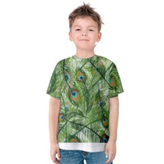 Peacock Feathers Pattern Kids  Cotton Tee