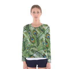 Peacock Feathers Pattern Women s Long Sleeve Tee