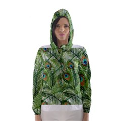 Peacock Feathers Pattern Hooded Wind Breaker (women)