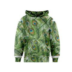 Peacock Feathers Pattern Kids  Pullover Hoodie