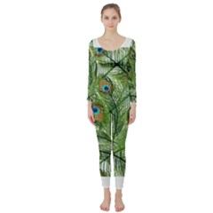 Peacock Feathers Pattern Long Sleeve Catsuit