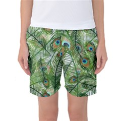 Peacock Feathers Pattern Women s Basketball Shorts