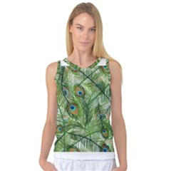 Peacock Feathers Pattern Women s Basketball Tank Top