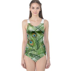 Peacock Feathers Pattern One Piece Swimsuit