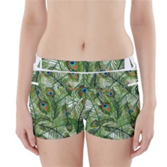Peacock Feathers Pattern Boyleg Bikini Wrap Bottoms by Simbadda