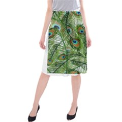 Peacock Feathers Pattern Midi Beach Skirt