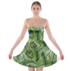 Peacock Feathers Pattern Strapless Bra Top Dress