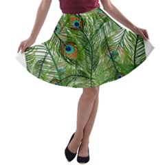 Peacock Feathers Pattern A Line Skater Skirt