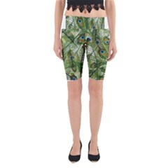 Peacock Feathers Pattern Yoga Cropped Leggings
