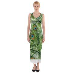 Peacock Feathers Pattern Fitted Maxi Dress